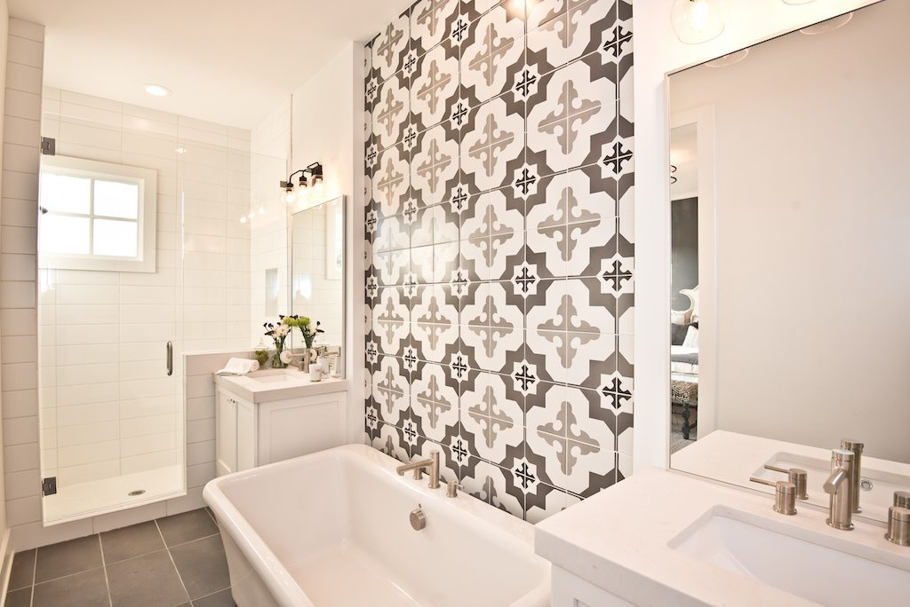 Decorated model master bathroom