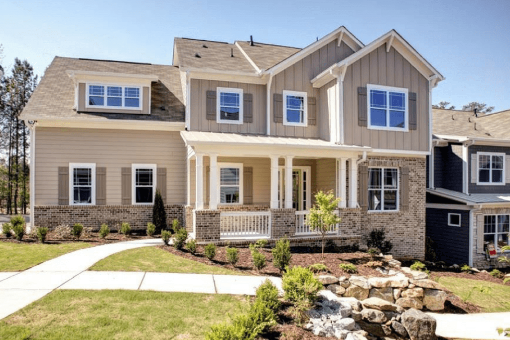 Home located on community mews at The Enclave at Laura Creek