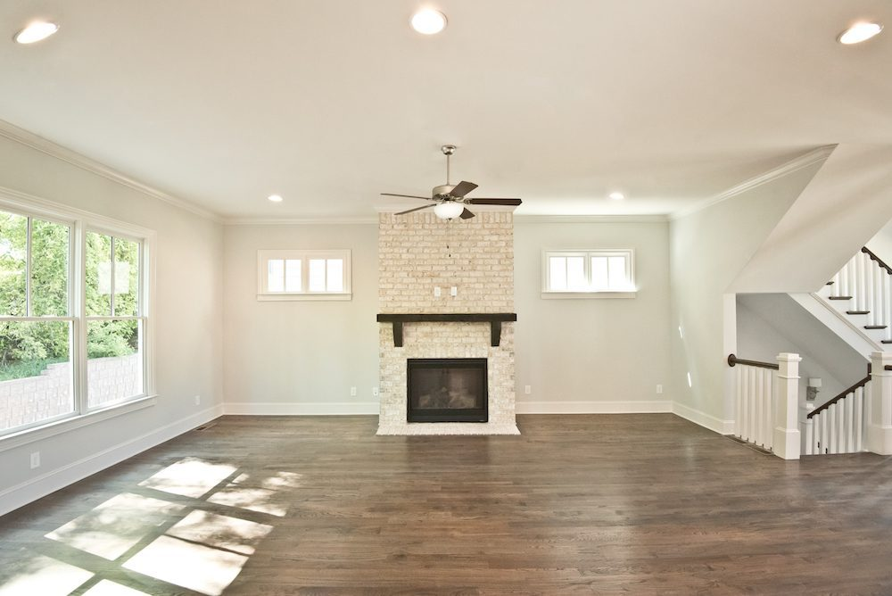 Gorgeous stone fireplace at Homesite 46 in Manget