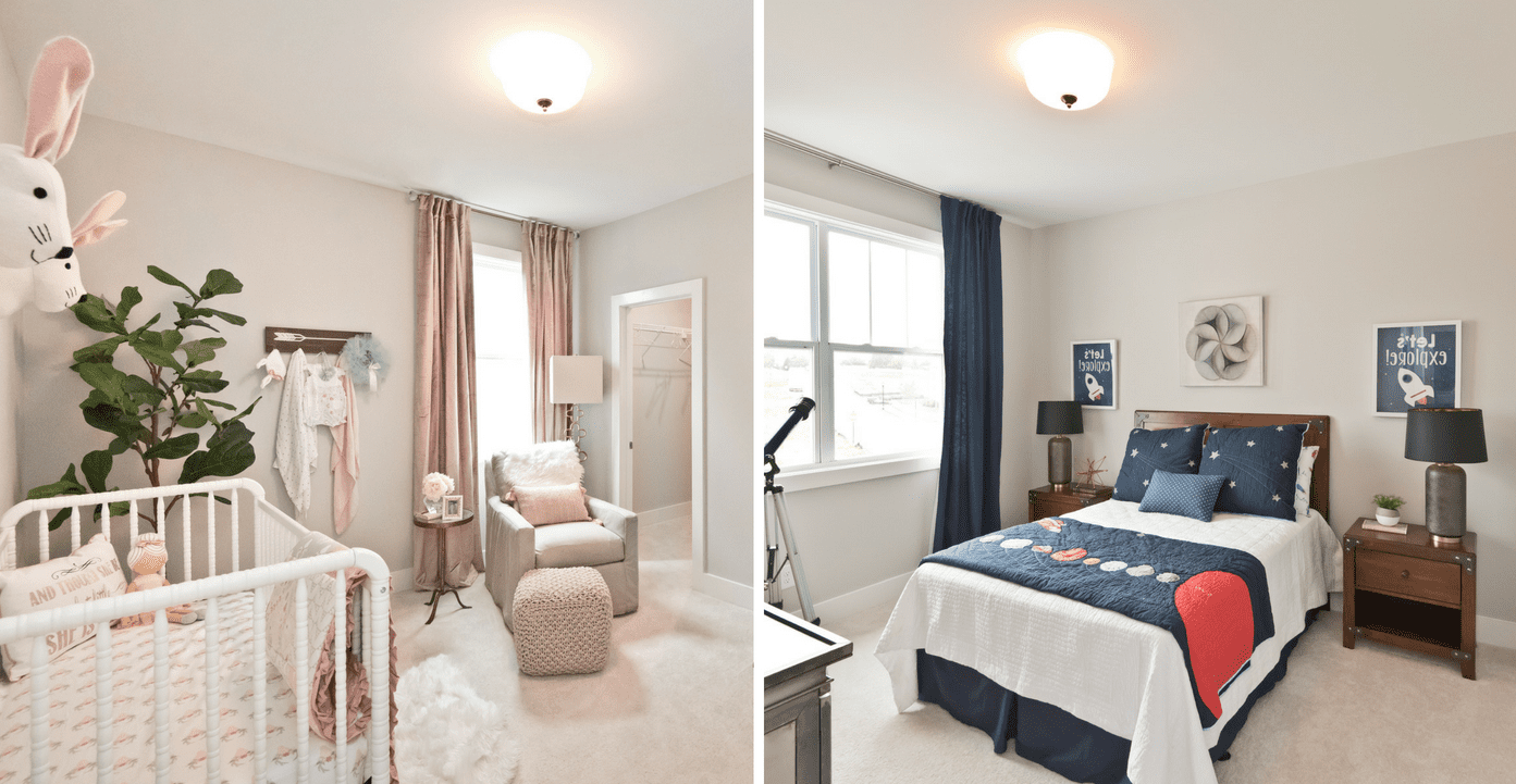 Secondary bedrooms in the newly decorated model home