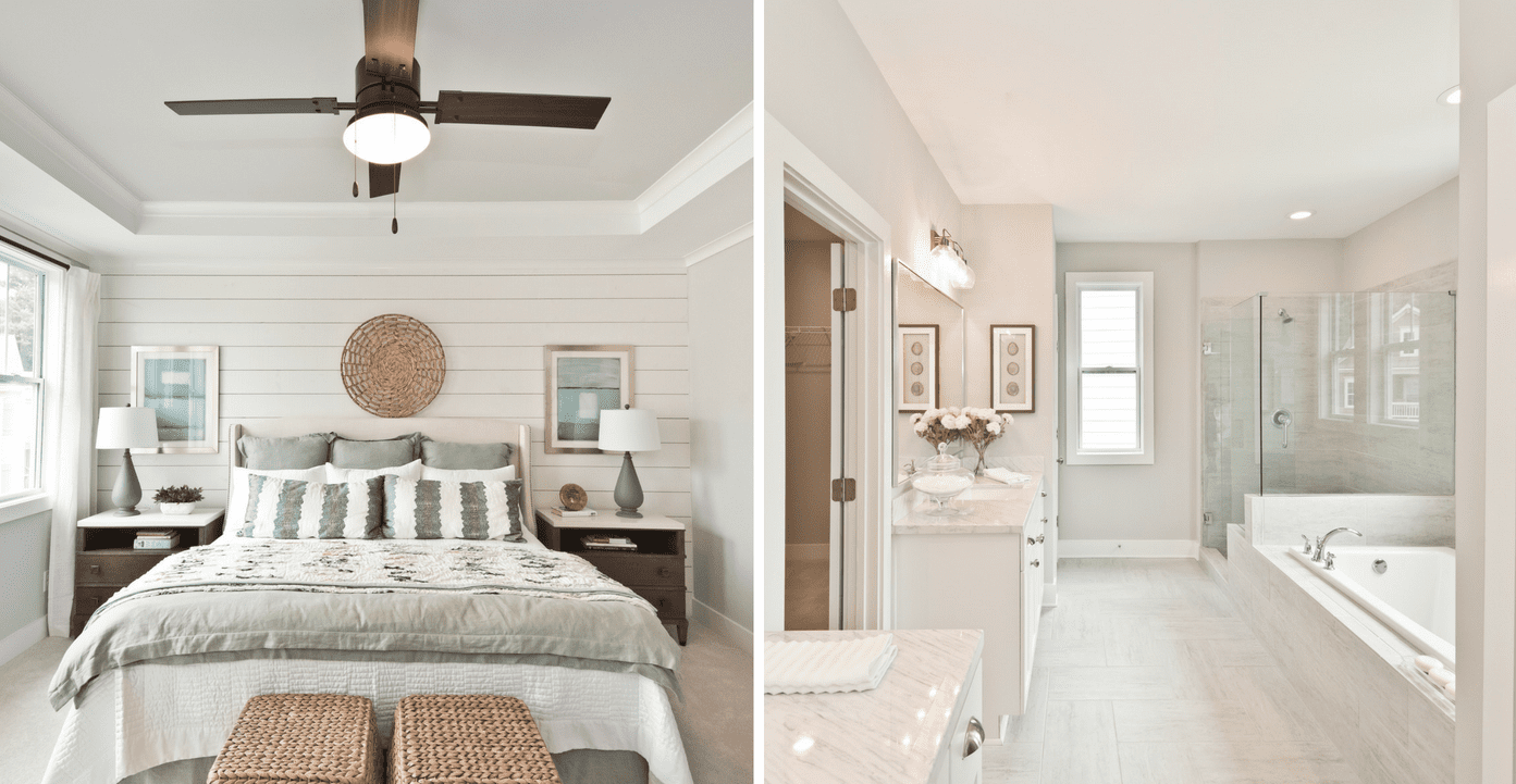 Gorgeous master suite in model home of new phase of single family homes at West Highlands