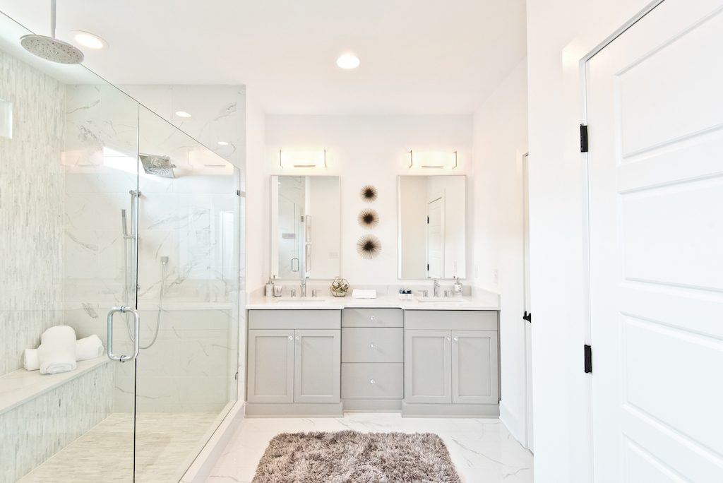 Spa-inspired master bath in the new model home at Westside Station
