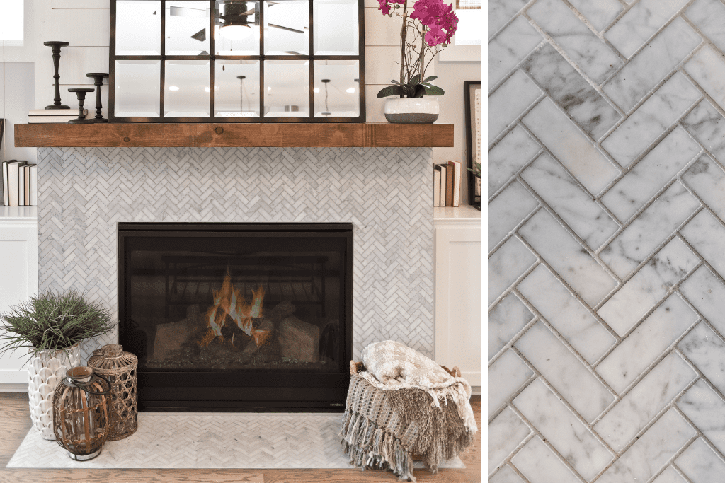 A herringbone tile pattern is the perfect accent to give your home a chic, urban vibe.