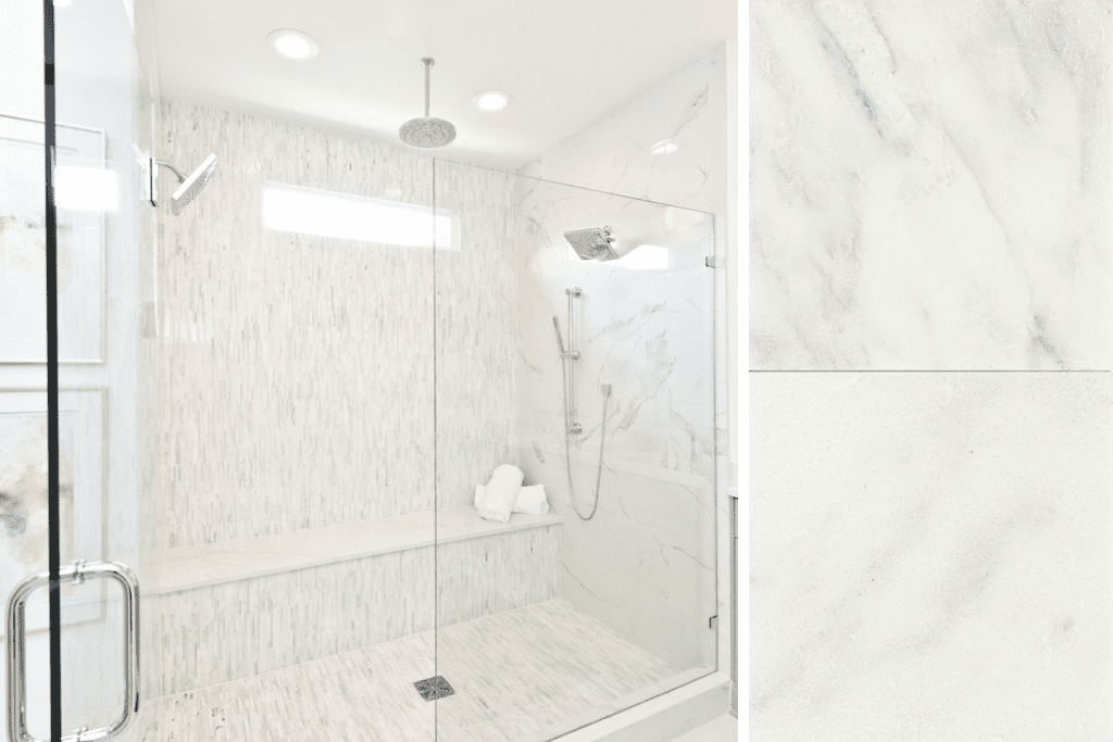 Create your own spa-inspired master bath by incorporating elegant marble tile.
